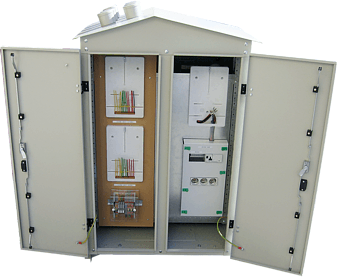 RSW pole transformer station switchgear with measuring and street lighting control system